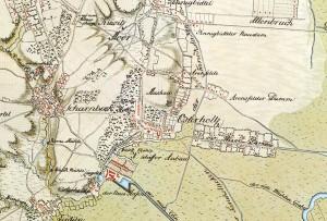 Kurhannoversche Landesaufnahme ca. 1764 (Ausschnitt Osterholz und Scharmbeck)