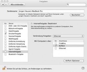 Macbook als W-Lan-Server einrichten